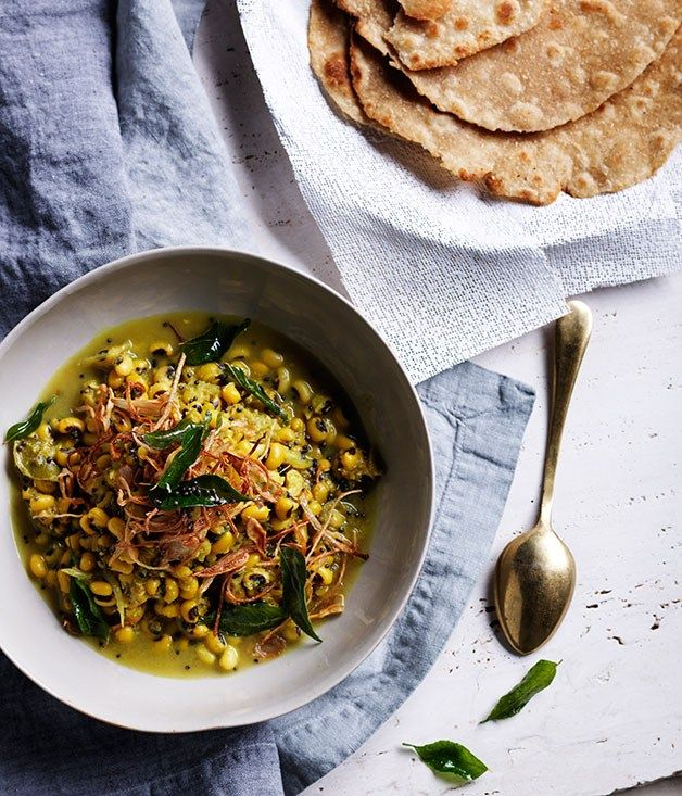 Black-eyed pea curry with crisp shallots and curry leaves recipe :: Gourmet Traveller