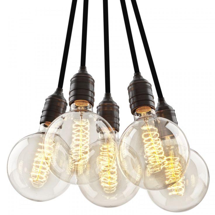 Vintage Taklampe - 5 Lyspærer
