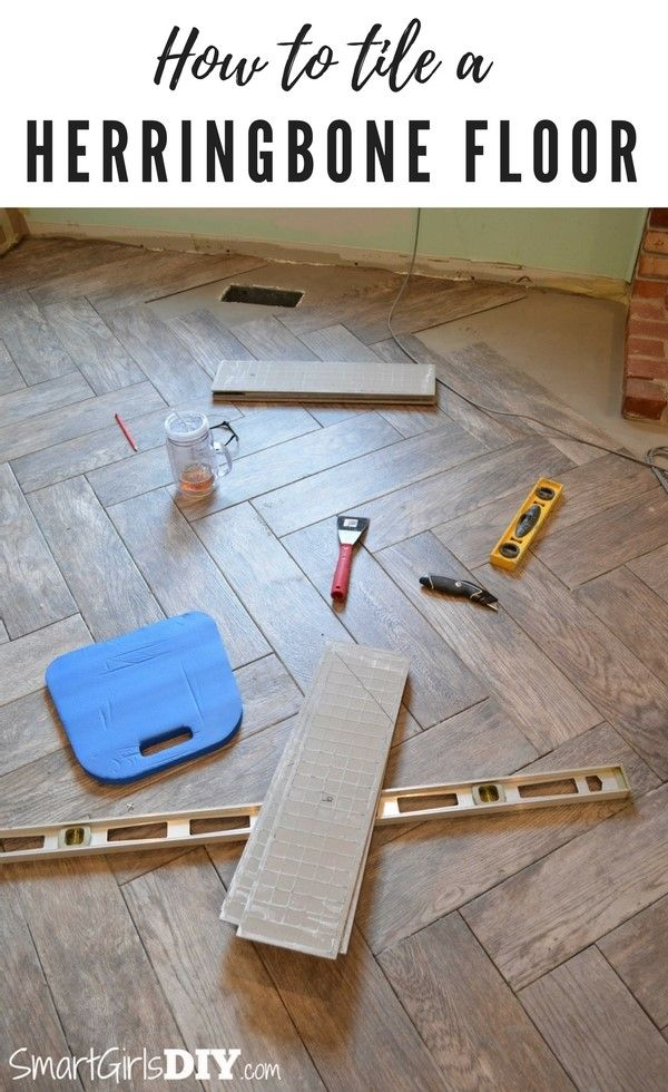 How to tile a herringbone pattern floor with wood look tiles - Smart Girls DIY