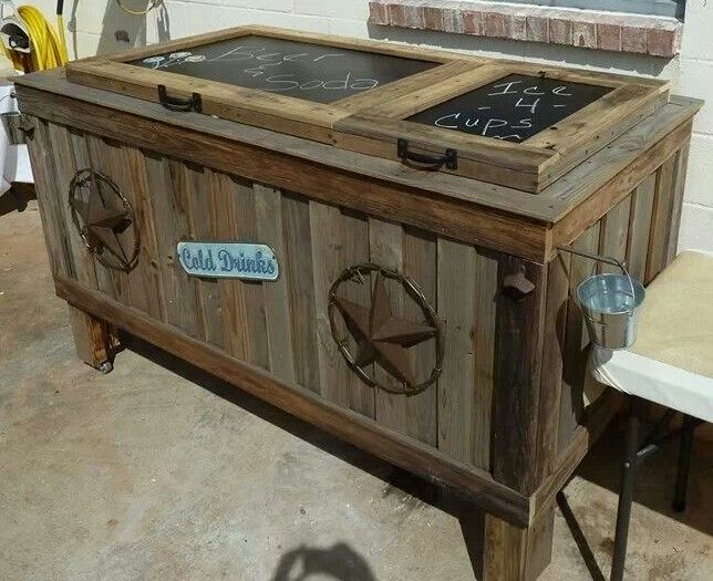 Cooler (ice chest) made from an old refrigerator.  My brother and his son made this their weekend project for a month!