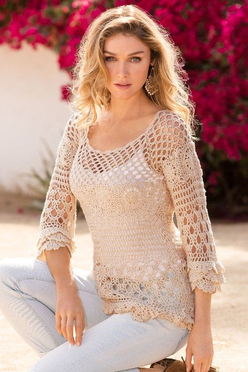 Crochet tunic PATTERN, detailed instructions in ENGLISH for every row, beach…