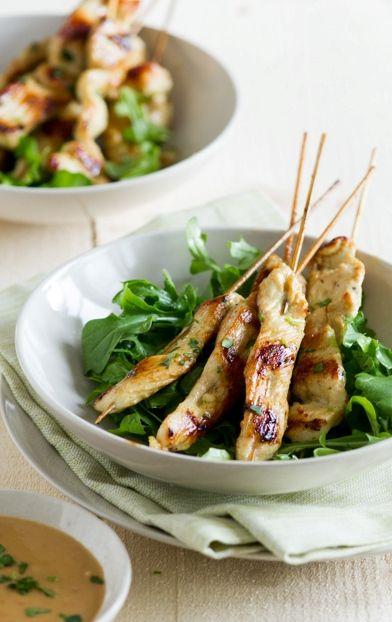 Asian Chicken Satay Skewers with Peanut Dip