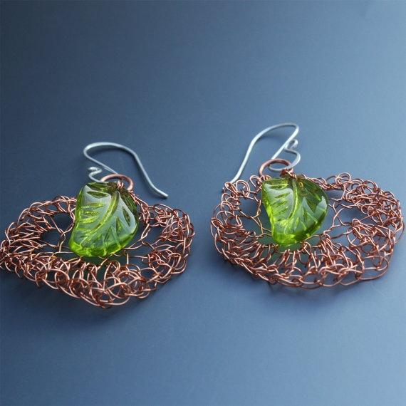 Crocheted Wire Earrings In Copper With Green by Aliona K,