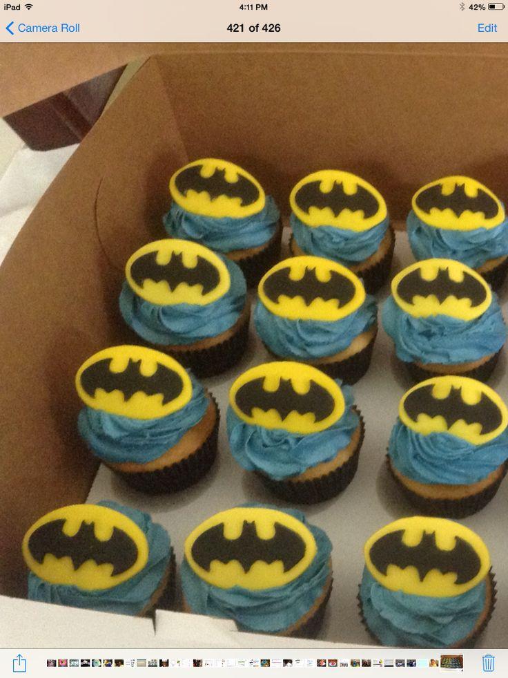 Batman Emblem Cupcakes