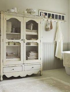 Rustic Farmhouse Style Bath   Love the Armoir for towels and toiletries