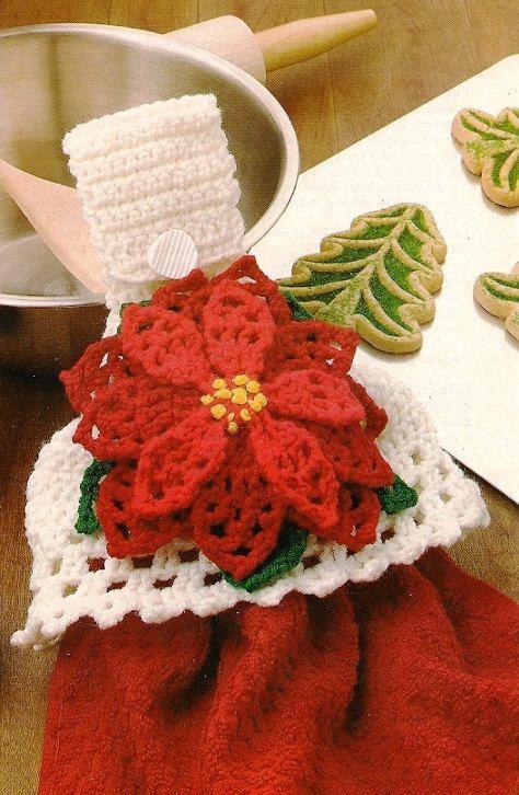 Christmas Poinsettia Towel Topper