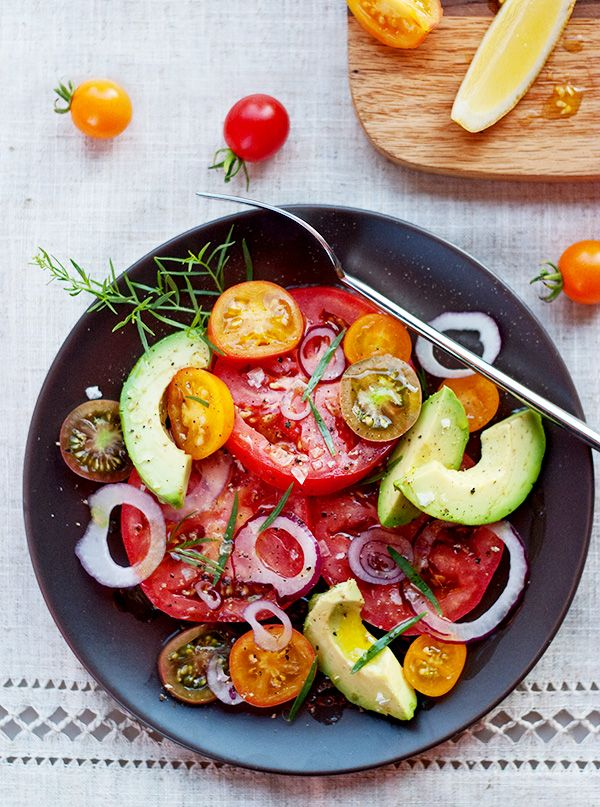This simple tomato salad recipe is an easy side dish for any dinner or makes a great lunch.