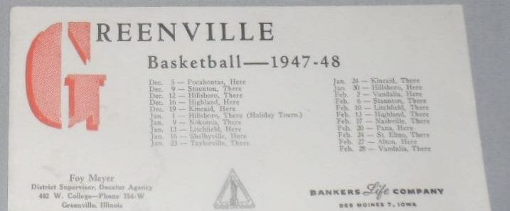 GREENVILLE ILLINOIS Basketball Schedule 1947 -48