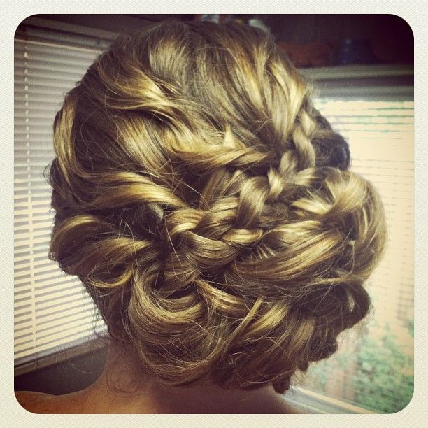 bridesmaid updo curly low side bun with braid #jamiewarzel