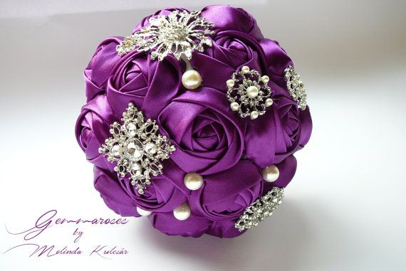 Bridal Fabric Bouquet - Brooch Bouquet - purple brooch bouquet, bridesmaids bouquet,  Unique luxury wedding, purple wedding