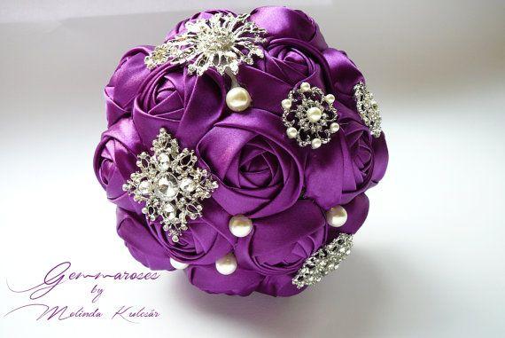 Bridal Fabric Bouquet Brooch Bouquet purple brooch by gemmaroses