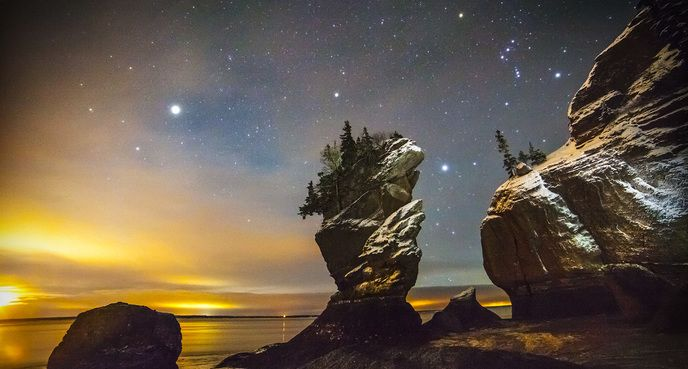 """Jupiter Rising over Hopewell Rocks,"" Kevin Snair, Hopewell Cape, New Brunswick"