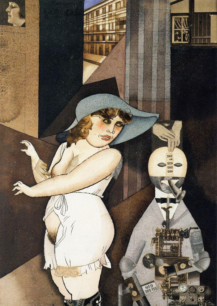 George Grosz, Daum sposa il suo pedante automa George nel maggio del 1920, John Heartfield ne è molto felice, 1920