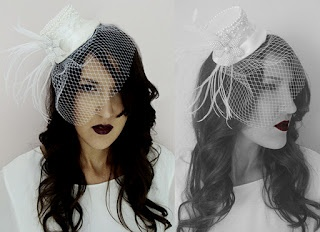Handmade mini hat with veil.