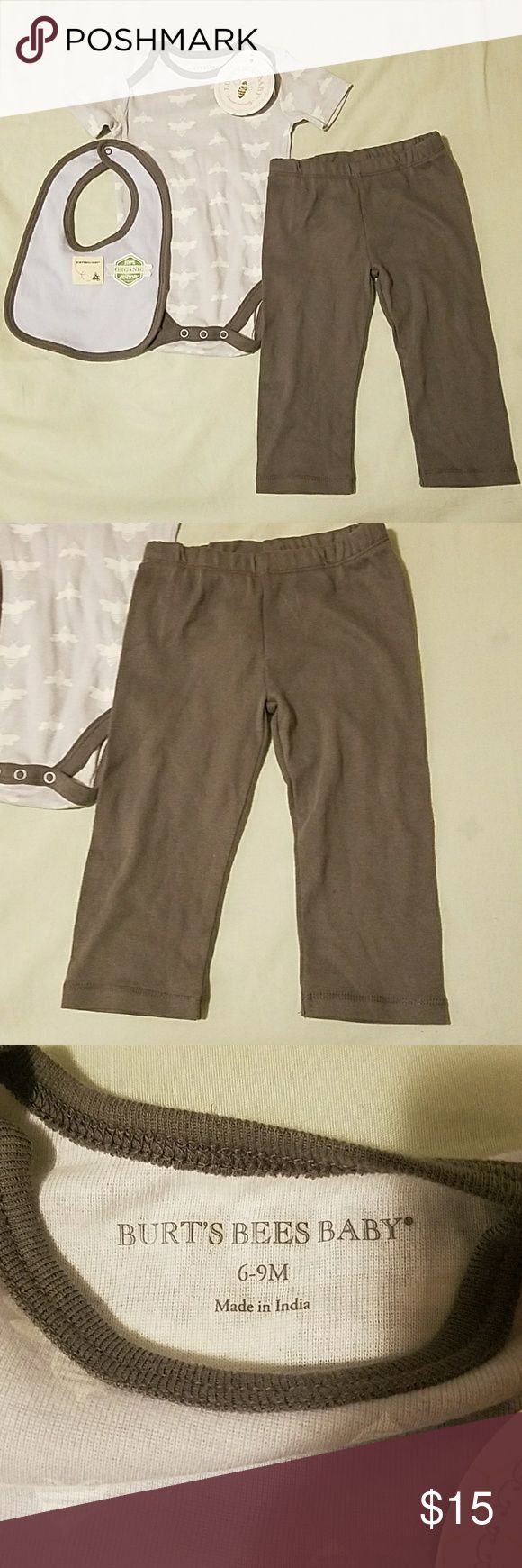 NWT burts bees set 6-9 month burts bees baby outfit. Comes with a onesie pants and a bib. It's a blueish grey white bees and dark grey pants! NWT Burt's Bees Baby Matching Sets
