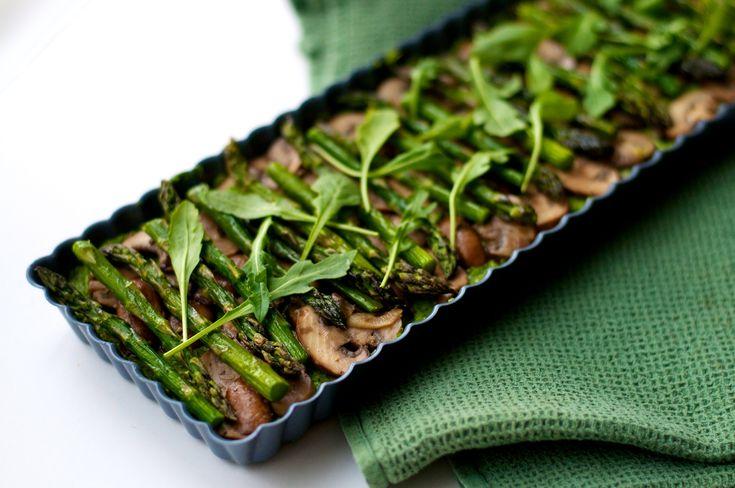 Mushroom Asparagus  Arugula /with lemon & o\o dressing]Tart with Socca crust- 1c chickpea flour -1C +2tsp water, 3\4tsp salt 3\4 tsp cumin or other herbs, mix and spread on the bottom of the tart pan