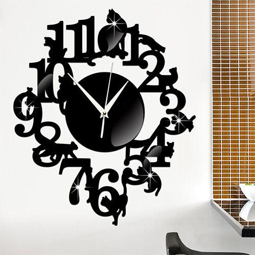 cheap wall clock mirror buy quality acrylic wall clock directly from china sticker clock suppliers creative black cat wall clocks mirror surface acrylic
