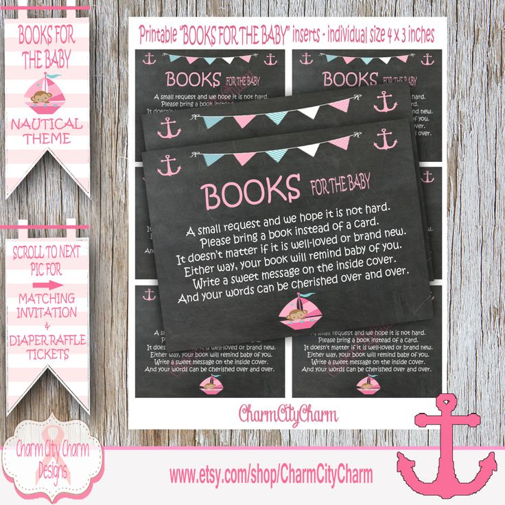 baby shower invitation wording for bringing diapers%0A Bring a Book Instead of a Card Invitation Inserts  Nautical Girl Theme Baby  Shower Invitations