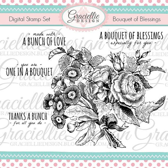 Bouquet of Blessings  Digital Stamp Set by GraciellieDesign