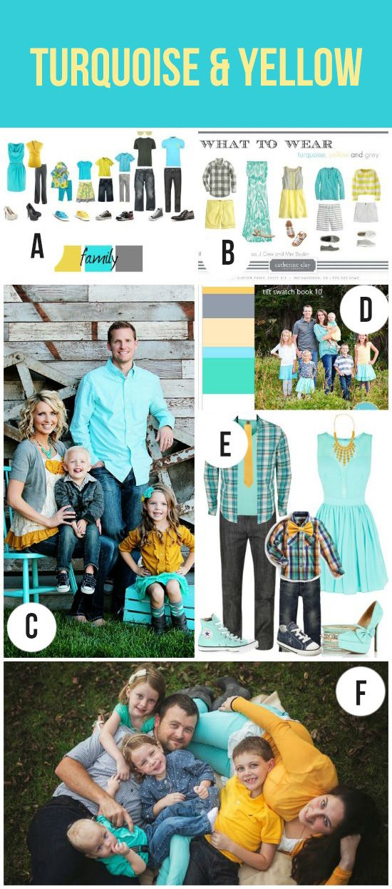 Turquoise and Yellow Family Photography Color Palette