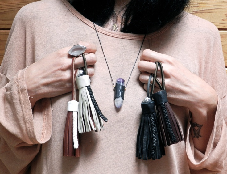 Necklace & leather tassels by SK  @ http://stephaniekedda.co/