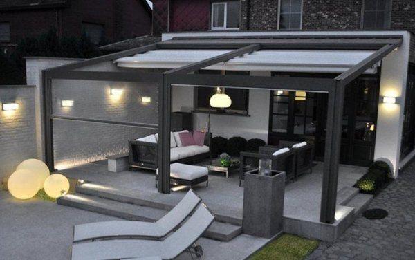 auvent de terrasse aluminium avec chaises longues