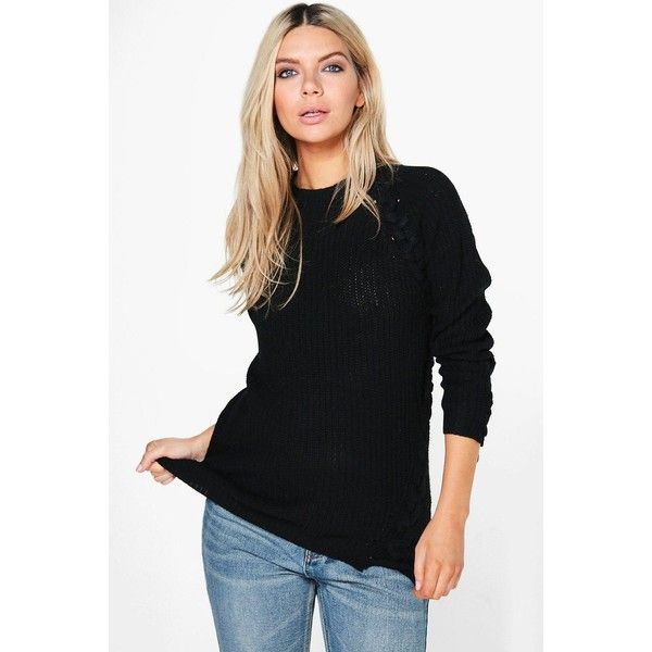 Boohoo Paige Lace Up Detail Fisherman Jumper ($7) ❤ liked on Polyvore featuring tops, sweaters, party jumpers, animal print sweaters, knit jumper, marled sweaters and turtle neck sweater