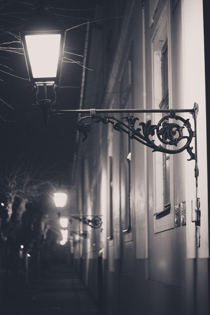 night at Vác - small town lights*kisvárosi fények #light #night #small #town #love #nostalgy #black #white #photography