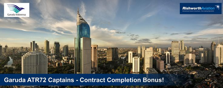 Calling all ATR72 Captains! Contract completion bonus available with Garuda Indonesia! Apply today - http://ow.ly/Ths6H #RishworthAV #pilotjobs