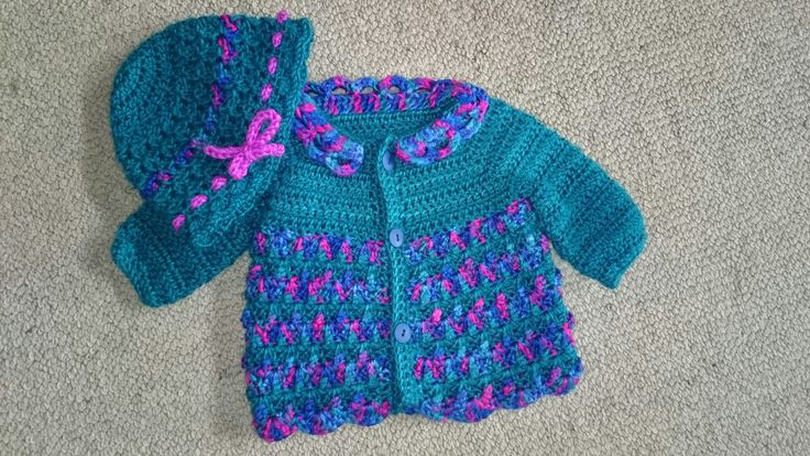 Crochet jacket and hat for your little miss