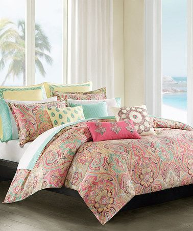 Another great find on #zulily! Coral & Mint Paisley Duvet Set #zulilyfinds