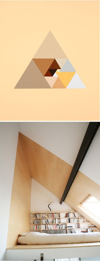 triangle interior: Colors Triangles, Hipster Triangles, Fractals Loft, Loft Inspiration, Designformankind Com, Loft Spaces, Beds Nooks, Triangles Loft, Loft Beds