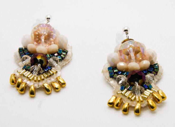 Vintage style statement earrings by TiffyDesigns. http://www.tiffydesigns.com #earrings #vintage #statement #statmentearrings #metallic #beaded