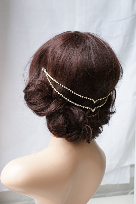 Gold Wedding Headpiece Bridal Accessory Hair by RoseRedRoseWhite