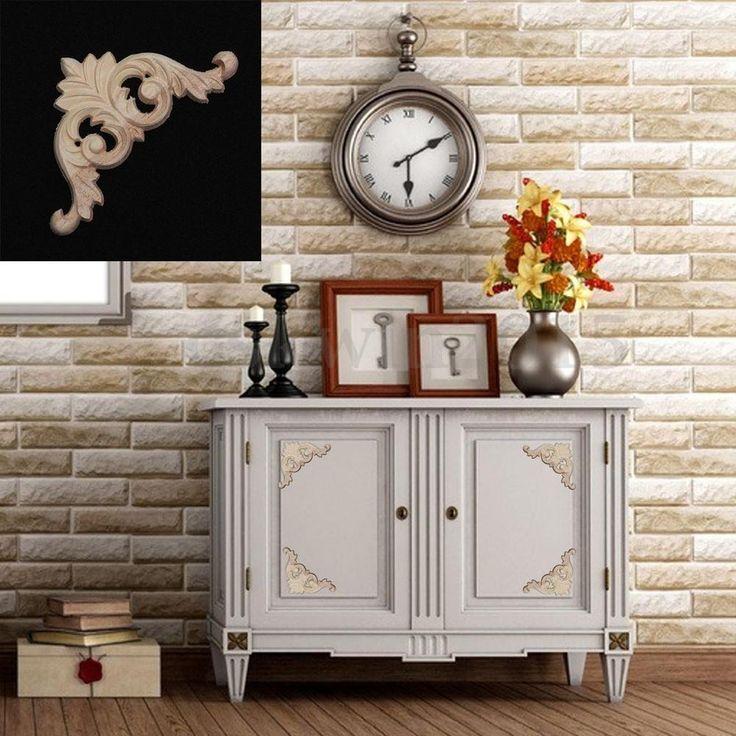 1/2/4Pcs Wood Carved Corner Onlay Applique Unpainted Furniture Home Decor 8x8cm #UnbrandedGeneric