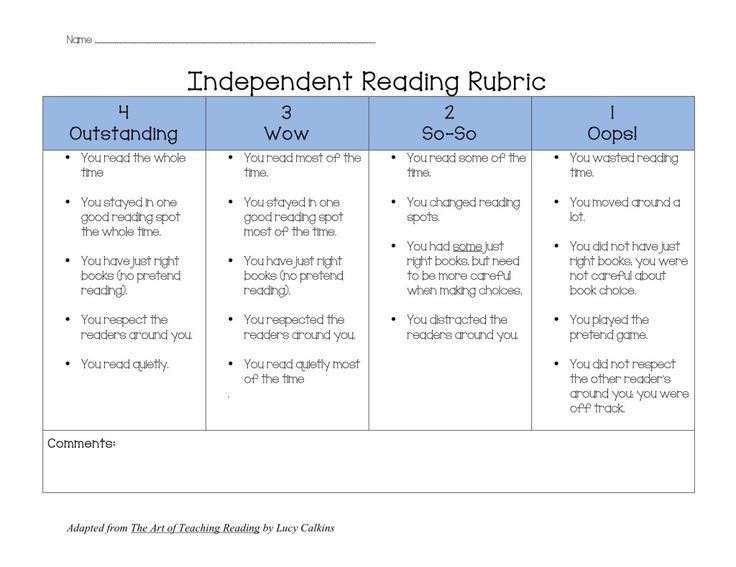 ~~Independent Reading Rubric.  Launching Readers Workshop {Guidelines & Expectations}