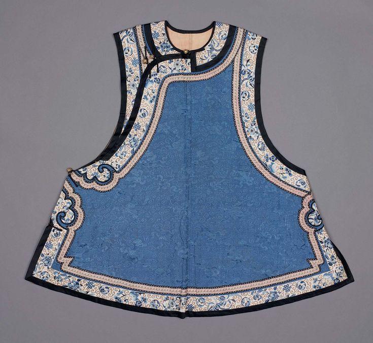 China | Manchu woman's domestic vest of blue silk