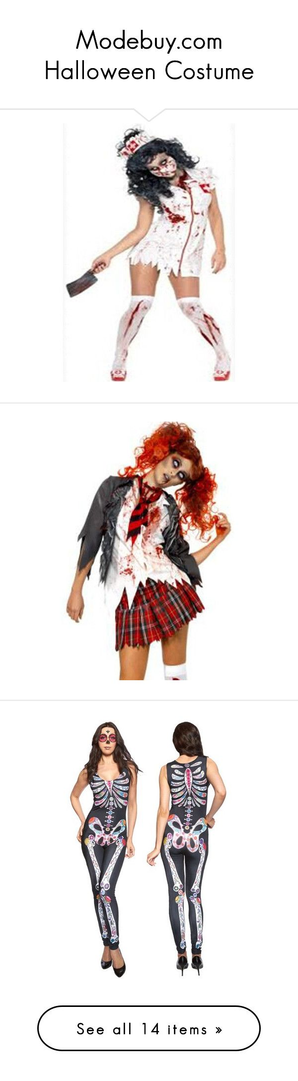 """Modebuy.com Halloween Costume"" by modebuy ❤ liked on Polyvore featuring modebuy, costumes, adult halloween costumes, zombie nurse costume, adult zombie costume, living dead costume, adult nurse costume, zombie costume, zombie school girl and holiday costumes"
