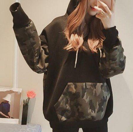 Loose camouflage hoodie for women color block sweatshirt