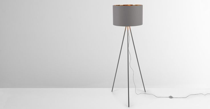 Tris Floor Lamp, Matt Grey and Copper
