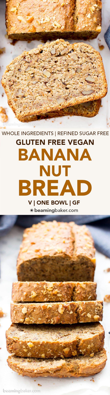One Bowl Vegan Gluten Free Banana Nut Bread (V, GF, DF): an easy recipe for perfectly moist banana bread packed with walnuts and bursting with banana flavor! #Vegan #GlutenFree #OatFlour #DairyFree | BeamingBaker.com