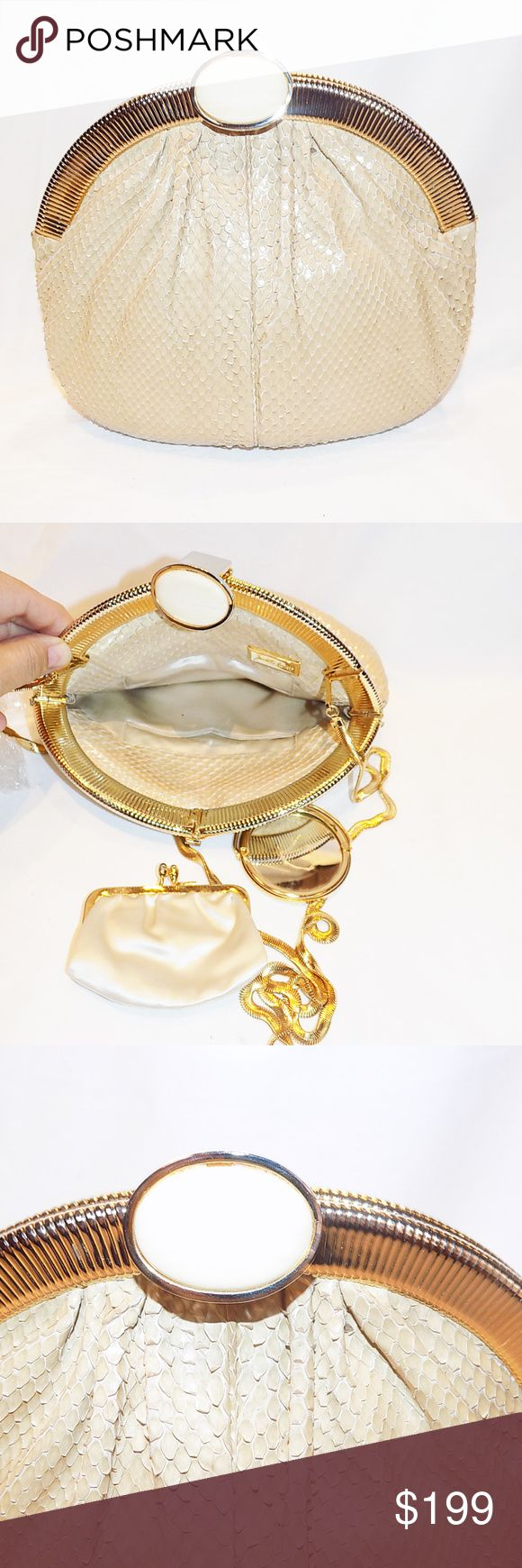 "Judith Leiber Beige Snake Skin Frame Bag Beige Snake Skin Frame Handbag or Clutch with large oval  Stone Clasp!  Easily converts to a clutch.  Bag is neutral color and so perfect for any dress and any occasion. Excellent size to fit your phone and all you need for the evening. Mirror and coin purse included.  Bag measures 8.5"" by 7"" chain drop 22"" Pristine condition Judith Leiber Bags Shoulder Bags"