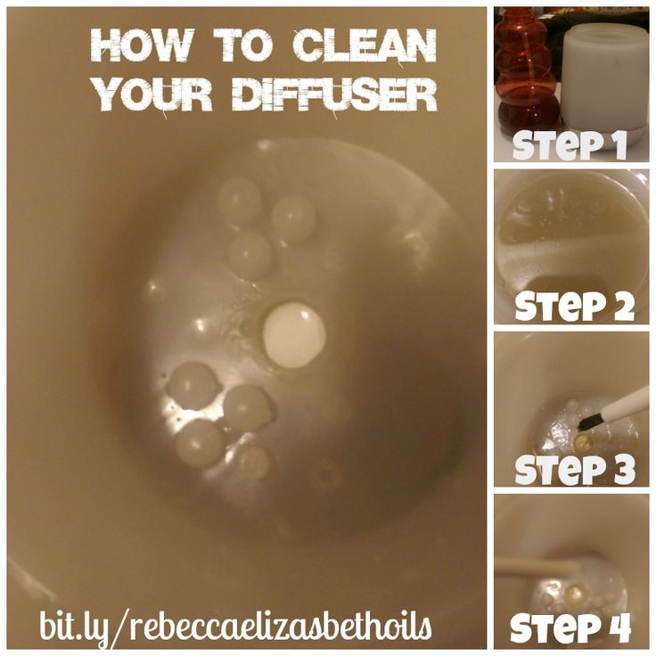 How to clean your diffuser! Add 1/4c distilled white vinegar to your diffuser, fill with warm water, set aside for 25 min, clean with a soft brush and sharp edged tip to remove scum, wash out! learn more here: bit.ly/rebeccaelizasbethoils