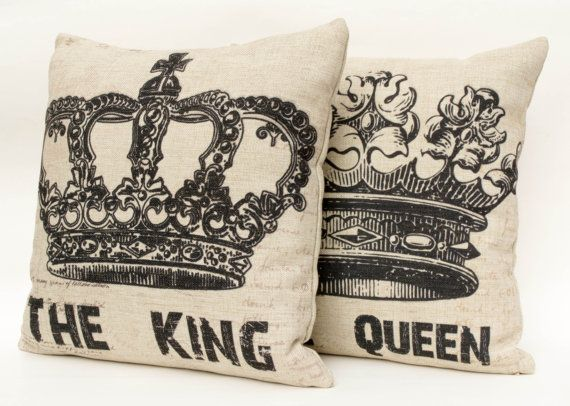 Set of 2 Cotton linen crown decorative throw pillow by leleehomy, $23.90