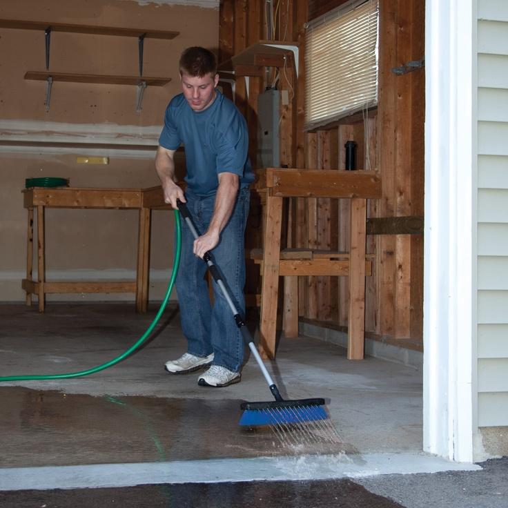Deck Washer Flow-Through Broom garage cleaning