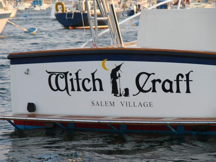 the witch logo on the boat is also the logo for the salem witch museum - Halloween History Witches