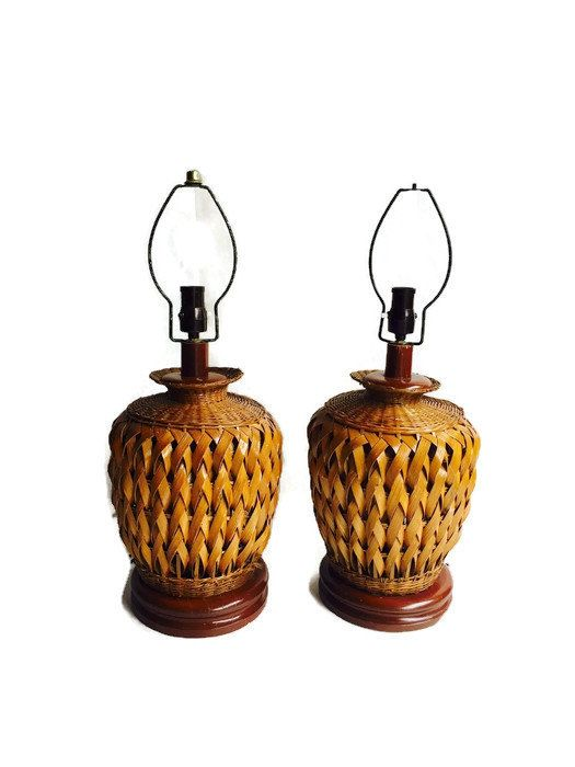 Mid Century Woven Reed Pair Lamps Pineapple Meets Ginger Jar Rattan Au Natural Pair Bohemian Tribal Meets Rustic Farmhouse Console Lamps Set