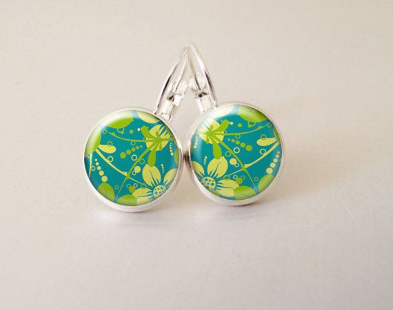 Funky lime floral print on aqua glass cab by ArtiFartiGifts