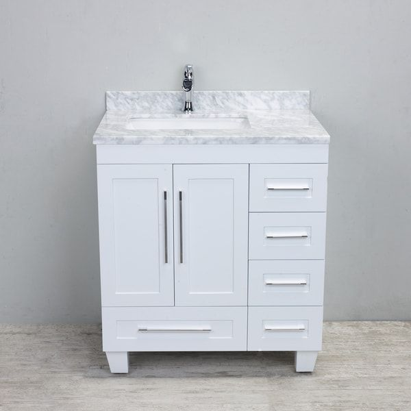 Eviva Loon Transitional White 30 Inch Bathroom Vanity With White