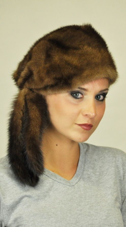 Women's mink fur hat with  tails